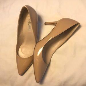 "6.5 L.K. Bennett Florete patent 2"" heels in Taupe."